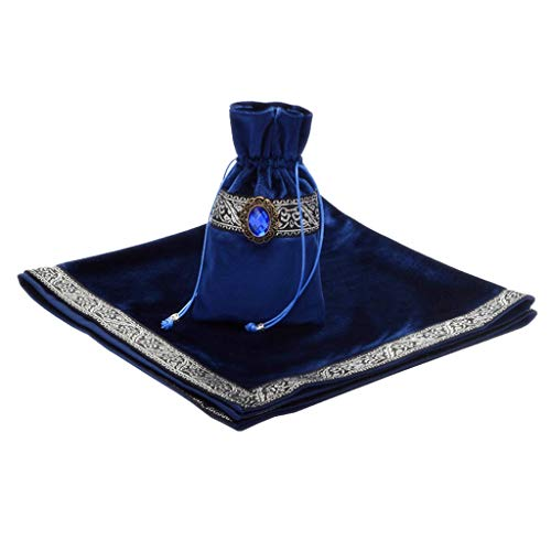 non-brand Bolsa Clásica de Cartas Tarot Mantel de Mesa Mantel de Adivinación de Terciopelo - Azul