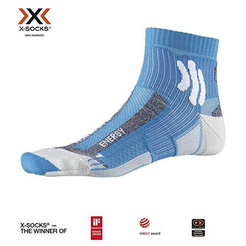 X-Socks Marathon Energy Socks, Unisex – Adulto, Teal Blue/Arctic White, 42-44