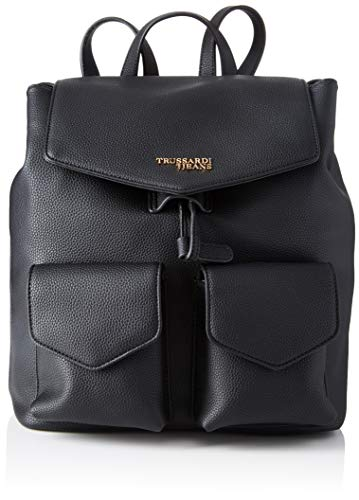Trussardi Jeans Charlotte Backpack MD Tumbled, Zaino Donna, Nero...