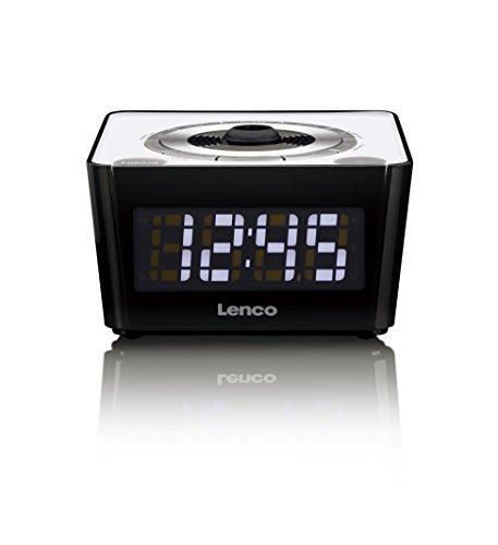 Lenco Radiowecker CR-16 weiß Uhrenradio mit Funkuhr mit PLL FM Tuner und 180 Grad Projektion inkl. FOK