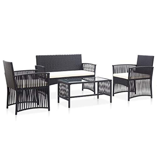 LUSHAZER 4-Piece Rattan Patio Furniture Set, Garden Lounge Set with Weather Resistant Cushions and Glass Table for Garden Lawn Pool Backyard, Outdoor Sofa Conversation Set (Black)