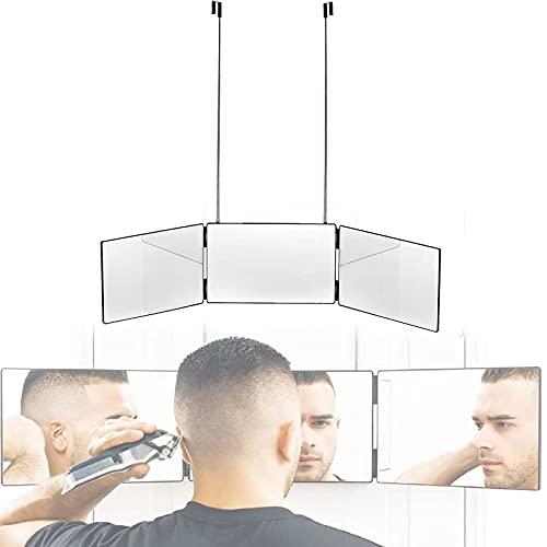 3-Wege-Spiegel zum Selbsthaarschneiden, 360 ° Friseurspiegel, tragbarer 3-Wege-Dreifachspiegel, DIY-Haarschnittwerkzeug für das Badezimmer nach Hause
