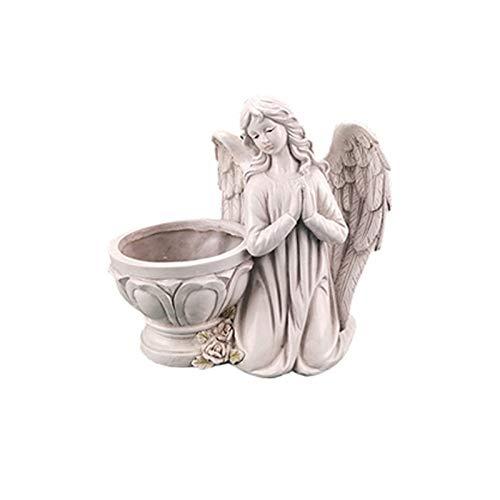 Taloit - Statua ornamentale da giardino con angelo, per piante grasse e piante, in resina, statuetta di angelo per giardino, per giardino, prato e scrivania