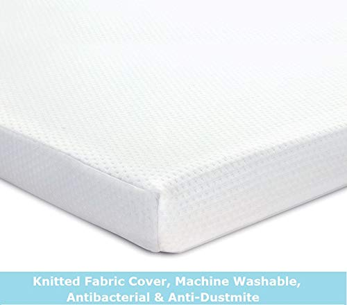 DuraTribe Comfimat 3' inch REFLEX Foam Mattress Topper with or without Removable Cover (With Cover, Single (90 cm x 190 cm))