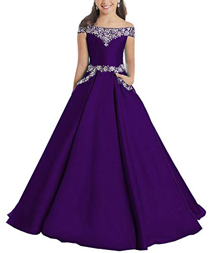Junguan Flower Girls Off The Shoulder Pageant Dresses Long Princess Birthday Formal Party Ball Gowns Aline with Pockets 16 Dark Purple