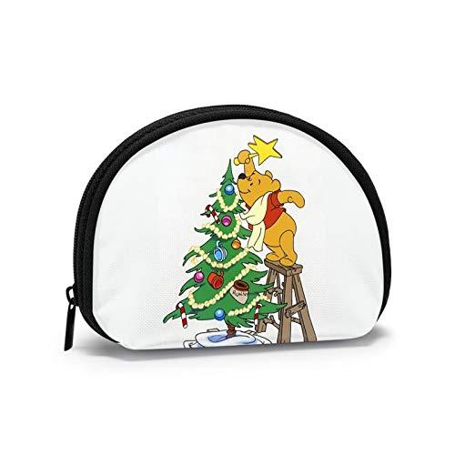 Winnie The Pooh Decora el árbol de Navidad Solo para Hombres Mini Bolsa de Almacenamiento para Cambio de Llaves Billetera para Billetes de Mujer Tarjeta de identificación