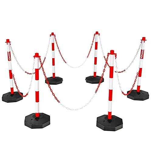 ERGOMASTER 6 Pack Delineator Post Traffic Cones Safety Cones for Parking Lot Construction Caution Road Cone with Fillable Base Detachable Stanchions and 5FT Chains Barriers (Red & White)
