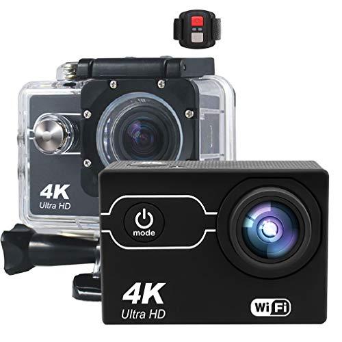 Ydshyth 4 K WiFi deportes acción Cámara Ultra HD impermeable DV videocámara 16MP con 170 ° gran angular y 1050 mAh baterías remotas, 16G