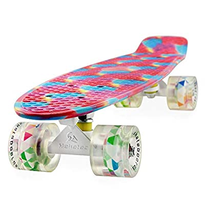 Meketec Skateboard Youth 22 inch Mini Cruiser Retro Starry Adults Skateboards for Kids Boys Girls Beginners Child Toddler Teenagers Dog Age 5 (Mixture of Pink and Blue)
