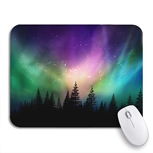 Adowyee Gaming Mouse Pad Colorful Multicolored Northern Lights Aurora Borealis on Canadian Forest 9.5'x7.9' Nonslip Rubber Backing Computer Mousepad for Notebooks Mouse Mats