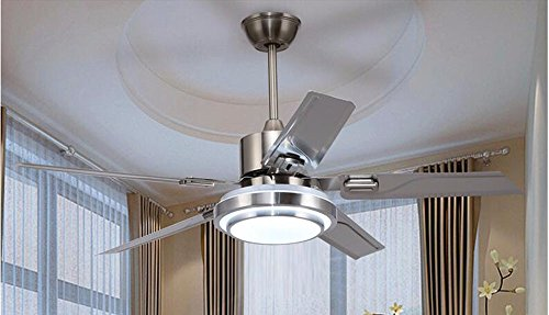 Ldoons Ceiling Fan with Light Retractable Blades Fan Chandelier Mute Restaurant Home Stainless Steel Leaf 48 inch 36W Remote Control Diameter 122cm