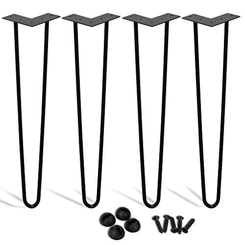 Haarnadel Tischbeine 4 Stück DIY Metall Heavy Duty Modern-Stil Schreibtisch Beine Möbelfüße Austauschbare Tisch und Schrank Beine Länge 15cm-72cm Durchmesser 12 mm Schwarz