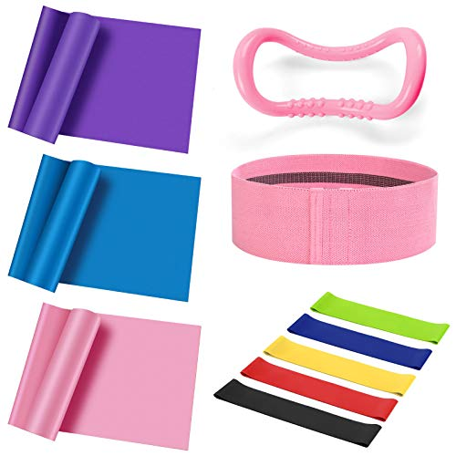 Odoland Resistance Bands Set 10 PCS 3 Levels Workout Bands mit 5 PCS Loop Exercise Bands, Fabric Elastic Booty Band und Yoga Ring für die tägliche Workout Leg Butt Training Therapie Yoga Pilates