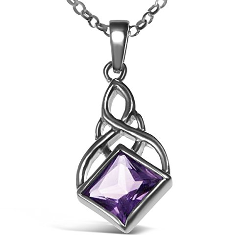 Sterling Silver & Amethyst Celtic Pendant - Irish/Scottish Necklace with 18' Chain