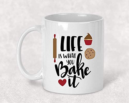 JASOO Life is What you Bake it Funny Taza de café regalo para ella 11 oz