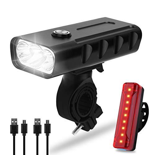 Osaloe Fahrradlicht-Set, Vorder- und Rücklicht für Fahrrad, Dual wiederaufladbar, superhelle LED, 3 Modi, 5200 mAh, Sicherheitslicht für Nacht