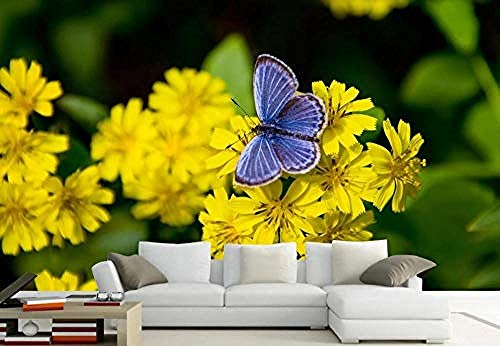 3D behang vlinder liefde bloemen mooi modern modern wandbehang gepersonaliseerd fotobehang wandschilderij - 350 cm x 256 cm