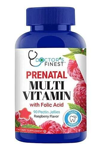 Doctors Finest Prenatal Multivitamin – with Folic Acid, Iron & Zinc Gummies – Vegetarian, GMO Free & Gluten Free – Tooth Friendly – Great Tasting Raspberry Flavor Pectin Chews – 90 Jellies [45 Doses]
