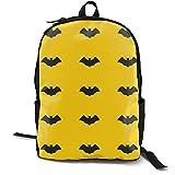AKERCY-CASE Black Scary Bat On Yellow - Mochila para portátiles de adulto, para niños, niñas, con impresión 3D