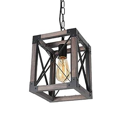 Beuhouz Square Hanging Rustic Kitchen Island Light Fixture, 1-Light Small Wood Farmhouse Pendant Light Industrial Black Metal Cage Entryway Porch Lantern Lighting Edison E26 8061