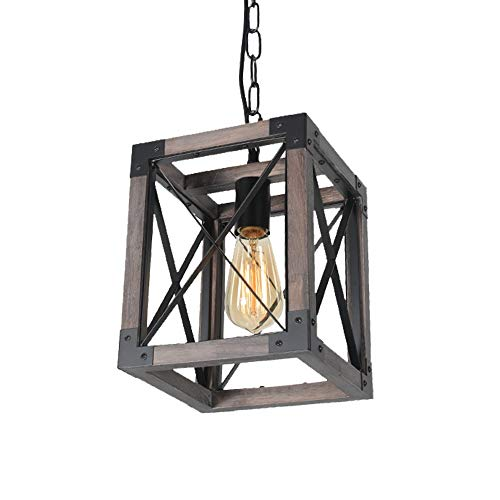 Beuhouz Square Hanging Rustic Kitchen Island Light Fixture,...