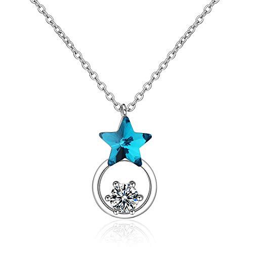 Cadena de clavícula de estrella azul, collar de diamante con colgante de diseño de nicho de joyería de estilo frío