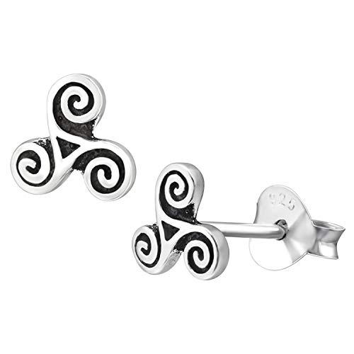 6mm Triskelion Celtic Spiral Earrings 925 Sterling Silver Studs Push Back