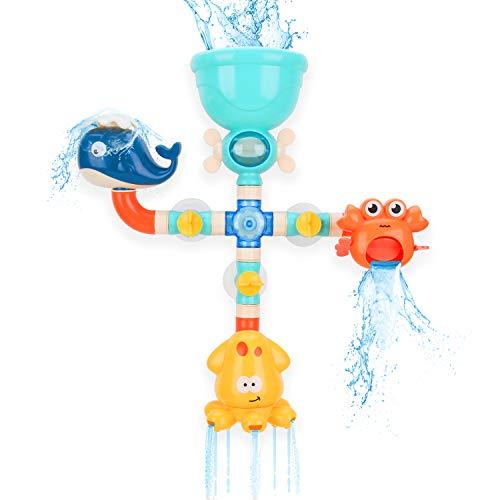 BBLIKE Juguetes de Baño para Bebés, Juguetes de Bricolaje para Pipas de Agua con Lindos Juguetes de Bañera con Rociador de Agua de Animales para niños Pequeños 2 3 4 años niñas niños (16 piezas)