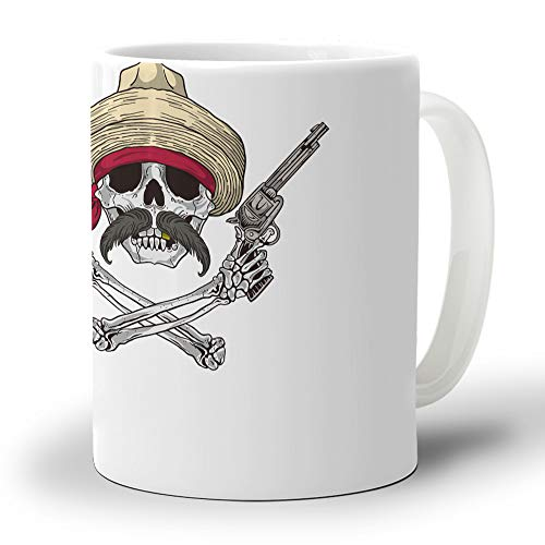 Skull Coffee Mugs, Smooth Base Avoid Tipping Over and Protect Table, Perfect for Living Room Kitchen Bedroom Use 12oz (350ml) Cowboy Skeleton with Hat