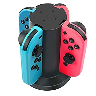 POWTREE Joy Con Charger Dock, 4 in 1 Charging Stand, Fast Charging Station with 4.9FT USB Charging Cable and LED Indicator, for Nintendo Switch Joy Con Controllers