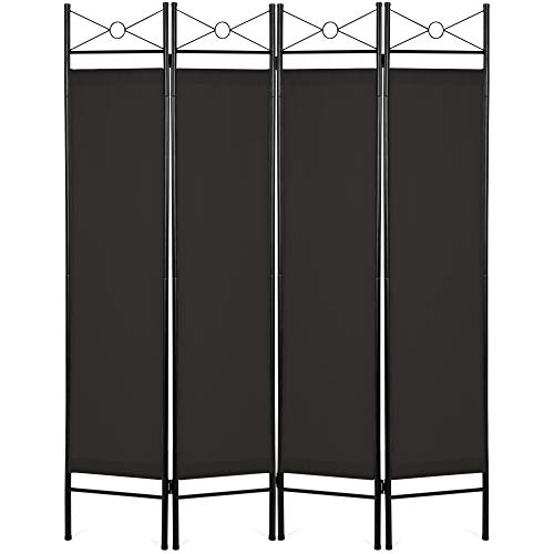 Best Choice Products 6ft 4-Panel Folding Privacy Screen Room Divider Decoration Accent w/Steel Frame - Black