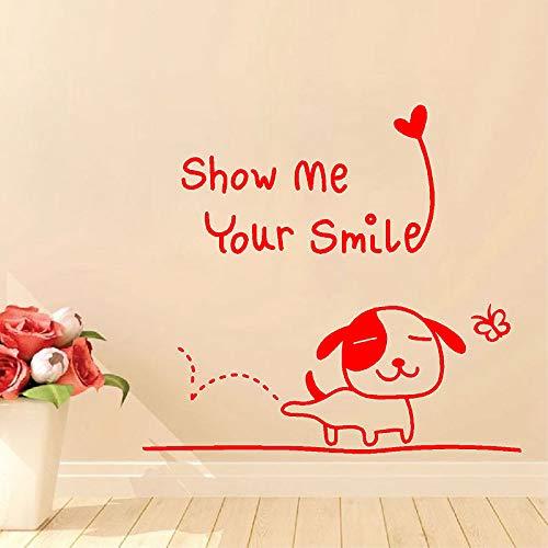 """Feliz cachorro con""""Muéstrame tu sonrisa"""" Etiqueta de la pared Baño Niños Decoración del hogar Vinilo Arte Extraíble Cartel Mural Calcomanías ~ 1 42 * 31CM"""