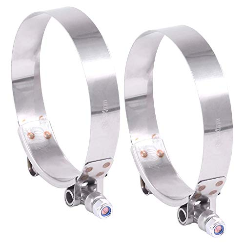 Hilitchi 2Pcs Stainless Steel T-Bolt Clamps with Rounded Band Edges Heavy Duty Turbo Intake Intercooler Clamp (86-94MM) for 3 1/2 Inch
