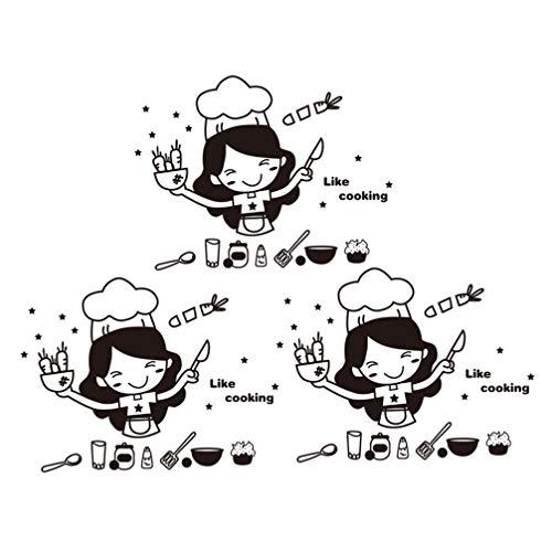IMIKEYA keuken muur Decal leven koken citaten muur Sticker doorgewinterde bestek chef-kok meisje wortel schil en Stick muur kunst voor keuken eetkamer eetkamer paasfeest Decor zwart 3 Stks