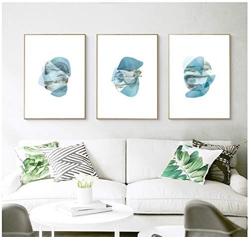 Dlfalg Abstract Geometrische Canvas Schilderijen Nordic Blue Posters Prints Muur Art Olie Foto voor Woonkamer Home Decor- 40 * 60Cm*3 Oningelijst