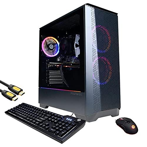 Mytrix Gamer Master by_CyberPowerPC Gaming Desktop, AMD Ryzen 3 3100, AMD Radeon RX 570, 16GB DDR4 RAM, 1TB PCIe SSD+1TB HDD, HDMI/DP/DVI/VGA, RJ-45, Wi-Fi, RGB Tower, Mytrix HDMI Cable, Win 10