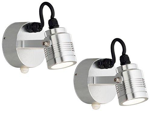 KONSTSMIDE 2-delige set massieve aluminium wandspots MONZA, bewegingsmelder, draaibaar, 240 lm; 7941-310