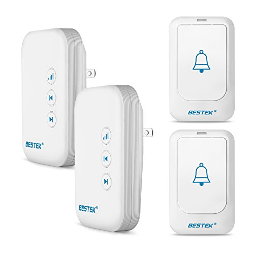 BESTEK Wireless Doorbell, Doorbell Kit Operating at over 500-feet Range with 2 Remote Buttons and 2 Plugin Receivers, LED Flash Lights, 36 Chimes