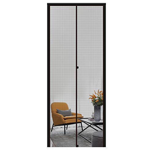 "MAGZO Magnetic Screen Door 30'' x 80'' Black, Durable Fiberglass Screen Doors with Magnets Fit Door Size 30"" x 80"" RV Deck Screen for The Door with Full Frame"