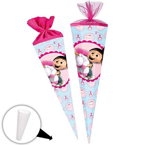 alles-meine.de GmbH Schultüte - Agnes & Einhorn Fluffy - 85 cm - 6 eckig - Tüllabschluß - Zuckertüte - mit / ohne Kunststoff Spitze - Nestler - rosa pink Mädchen - Minions - ich ..