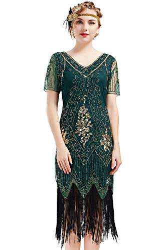 ArtiDeco - Vestido de mujer estilo años 20 con mangas cortas, disfraz de Gatsby para fiestas temáticas verde oscuro XXL