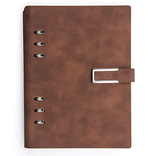 MLOZS Cuaderno de hojas sueltas de piel sintética rayado con hebilla, diario A5, con aro para bolígrafo, páginas interiores multifuncionales, para mujeres, oficina, universidad (color: marrón)