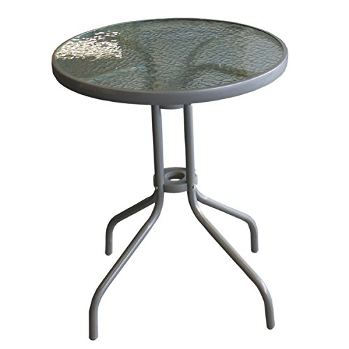 Multistore 2002 Wohaga® Bistrotisch Balkontisch Beistelltisch Glastisch Gartentisch Ø60cm mit geriffelter Glasplatte - Silber