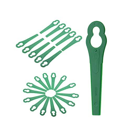 Ersatzmesser Set Rasentrimmer Zubehör 100 Stück Kunststoffmesser für Akku Rasentrimmer Bosch Einhell großen Lochdurchmesser 12 mm kleine Lochdurchmesser 7 mm Rasenmäherklinge (Grün)