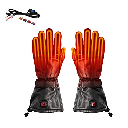 Venture Heat 12V Motorcycle Heated Gloves - Hybrid Cruiser Leather Riding Gloves (XL)
