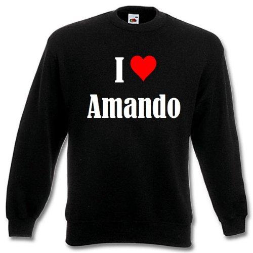 Bandenmarkt sweatshirt I Love Amando voor dames heren en kinderen in de kleuren zwart wit en blauw met opdruk