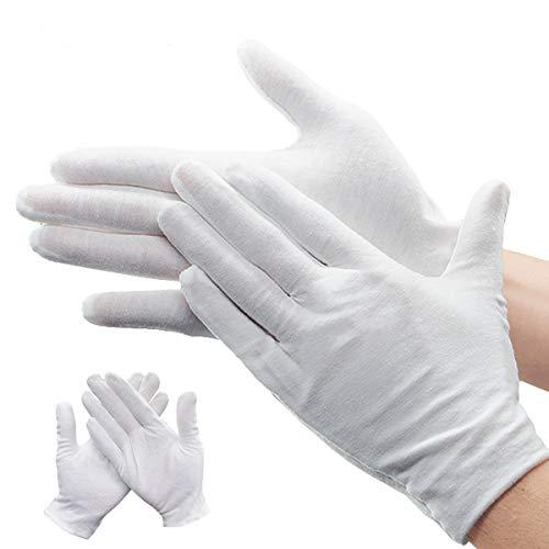NATUCE 12 Paia Guanti Bianchi Cotone, Unisex Cosmetici Idratante Terapeutico Guanti per Mani asciutte, Eczema, Beauty, Monete, Gioielli e Argento Ispezione
