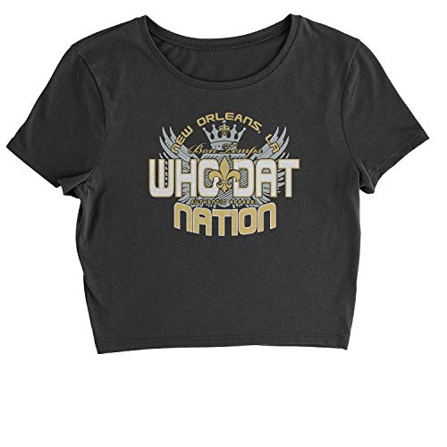 Expression Tees Cropped T-Shirt (Color) Who Dat Nation New Orleans T-Shirt Medium Black