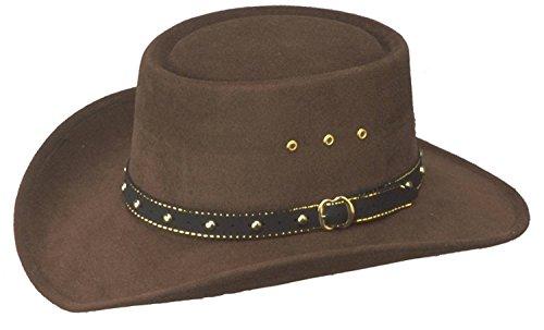 WESTERN EXPRESS Men's Faux Felt Gambler Cowboy Hat-Brown S/M
