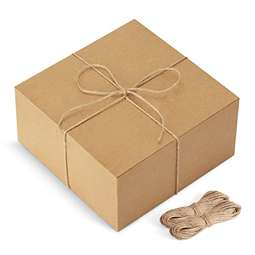 ValBox Gift Boxes with 66ft Twine 12 Pack 8 x 8 x 4 Brown Paper Gift Boxes with Lids for Gifts, Crafting Cupcake Boxes, Easy Assemble Bridesmaids Proposal Boxes